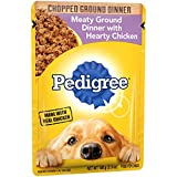 PEDIGREE Adult Wet Dog Food Chopped Meaty Ground Dinner with Hearty Chicken, (16) 3.5 oz. Pouches Larger Image