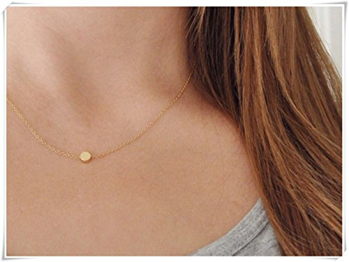 Gold Dot Necklace - Tiny - Floating - Circle - Simple - Pebble - Disc - Round - Small - Minimal