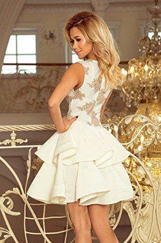 Cocktail Abendkleid Weiß Volant Erosebridal Kurz Festlich Hochzeit Damen Spitze Cocktail Kleid Partykleid wtqT6Bd7f