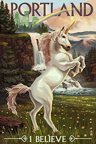 Unicorn and Rainbow - Portland, Oregon (9x12 Art Print, Wall Decor Travel - Supplies Framing Oregon Portland