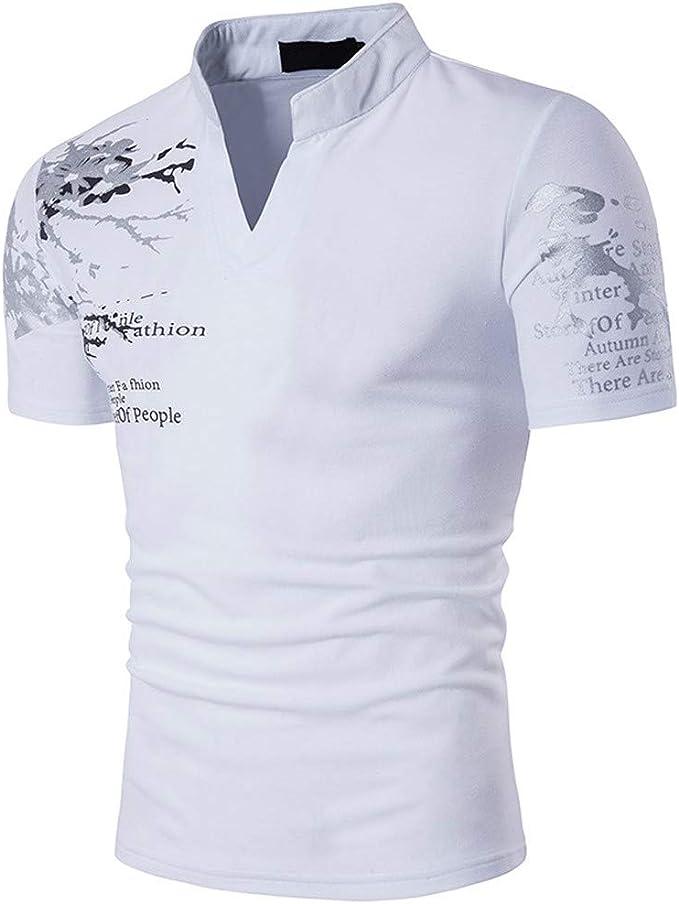 Sylar Polo Hombre Manga Corta Casual Camiseta de Algodón Slim Fit Camisetas Basicas Hombre con Cuello en V Camisa: Amazon.es: Ropa y accesorios