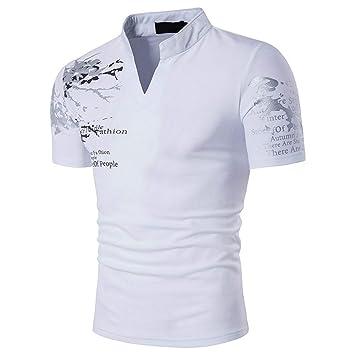 cbd3870dd1b Amazon.com  Sinohomie Men Summer T-Shirts Short Sleeve Casual Slim Fit  Graphic Polo Shirts Performance Golf Polo Shirt Tee (S
