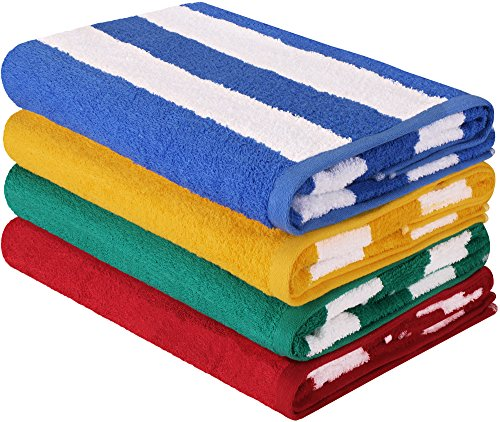 Utopia Towels Premium Quality Cabana Beach Towels - Pack of 4 Cabana Stripe Pool Towels (30 x 60 Inches) - Multi Color Towels with High Absorbency - Striped Wrap Around Wrap
