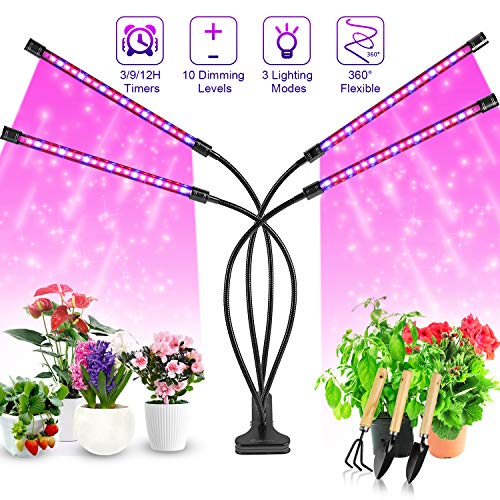 For Indoor Flower 40 LED DUAL HEAD Plant Grow Light Lamp Timing Dimming W// Clip☆