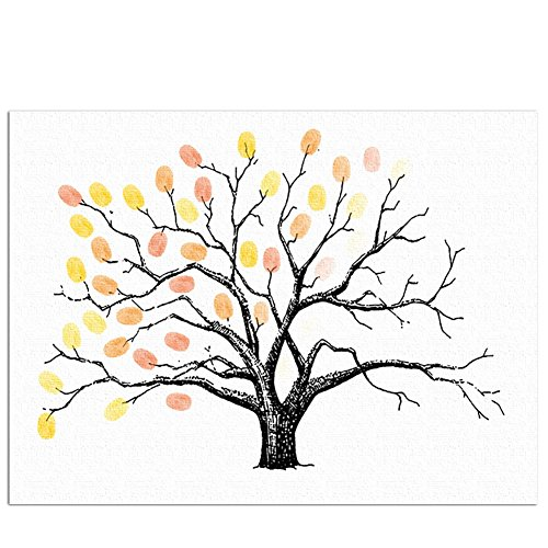 Ink Tree - Little rock Fingerprint Tree Creative Wedding Party Guest Signature Sign-in Book Canvas Tree