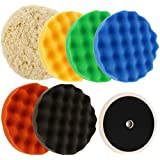 """Ultimate 6 Pad Buffing and Polishing Kit with 6 - 8"""" Pads; 5 TCP Global Waffle Foam & 1 Wool Grip Pads and a 5/8"""" Threaded Polisher Grip Backing Plate"""