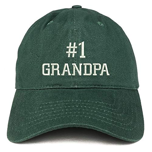 Trendy Apparel Shop Number 1 Grandpa Embroidered Soft Crown 100% Brushed Cotton Cap - ()
