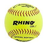 Champion Sports Leather Softball Pack: 12 Inch NFHS Slow Pitch Polycore Yellow Softballs - 12 Pack