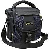 Camera Bag, Evecase Small Shoulder Case For Compact SLR DSLR Camera Micro Four Third, Hybrid, and High Zoom Camera and Instax Camera- Black/Blue