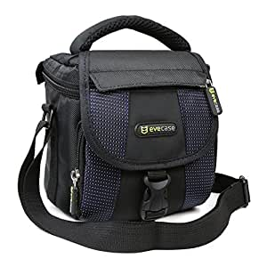 Camera Bag, Evecase Small Shoulder Case For Compact Digital SLR DSLR Camera Micro Four Third, Hybrid, and High Zoom, Mirrorless and Instax Instant Camera- Black