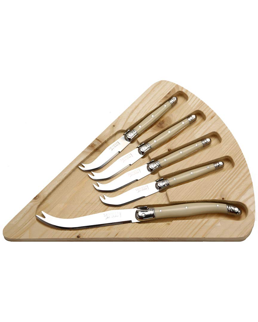 Jean Dubost Laguiole 5-Piece Cheese Knife Set, Ivory