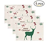 """Non-slip Heat-protection Eco-friendly Christmas Flax Placemats 17"""" By 11"""" (Set of 4) (white 2)"""