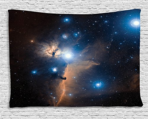 Ambesonne Space Decorations Collection, Nebula Gas Clouds in the Outer Space Moving Image Dynamic Celestial Mystery Dust Cosmos, Bedroom Living Room Dorm Wall Hanging Tapestry, 80W X 60L Inch, Multi (Cloud Of Dust And Gas In Space)