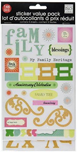 Big Ideas Rhinestone Embellishment Stickers - me & my BIG ideas Glitter Sticker Flip Value Pack, Family