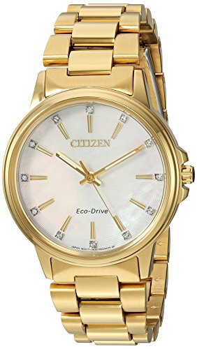 Citizen Women's 'Eco-Drive' Quartz Stainless Steel Casual Watch, Color:Gold-Toned (Model: FE7032-51D)