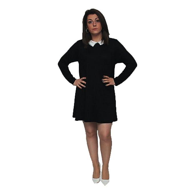 931a13112247 Vestido negro de manga larga con cuello blanco: Amazon.es: Ropa y ...