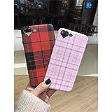 iPhone 7/8Plus funda, mixneer parejas a cuadros Rayas corazón pasta gusano de seda patrón teléfono juegos para Apple Iphone 7/8Plus 14cm–rojo, Rosado, iPhone 7/8