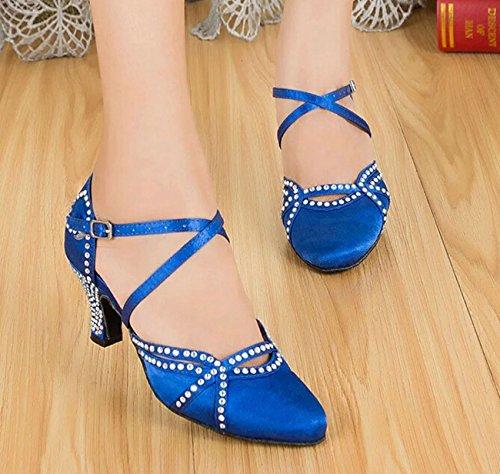 Satin Strap Dance Latin TH137 Heel Taogo Low Blue Minishion Shoes Wedding Women's Ballroom Cross Pumps CqwTYf