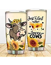 WOWFEEL Just A Girl Who Loves Cows Coffee Mugs 20oz, Fun Cow Tumbler Cups With Lip Straw, Sunflower Vacuum Insulated Tumbler Travel Cups for Travel Work Sport