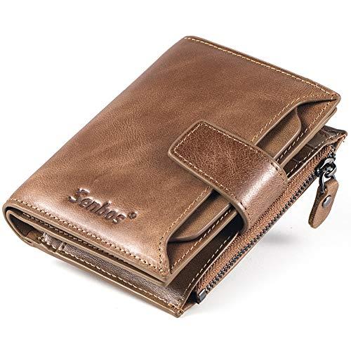 Senbos Mens Wallet Light Brown Genuine Cowhide RFID Blocking Soft Leather Wallet for Valentine's Day Father's Day (Cowhide Wallet Genuine)