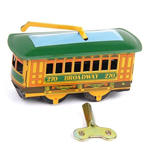 Weinlese Tram Wagen Streetcar Zinn Spielzeug Sammlerstück mit Aufziehen Schlüssel