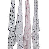 Bacati Set of 4 Little Sailor Muslin Swaddling Blankets, Blue/Pink
