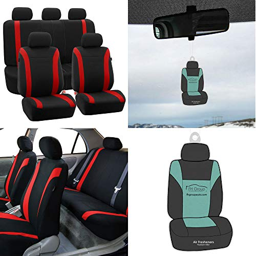 (FH Group FB054115 Cosmopolitan Flat Cloth Seat Covers, Airbag compatible & Split Ready w. Free Air Freshener, Red/Black Color -Fit Most Car, Truck, Suv, or Van)