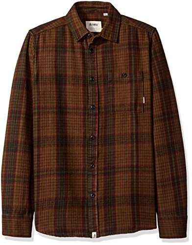 ALTAMONT Men's Binary Long Sleeve Flannel Shirt, Tobacco, X-Large