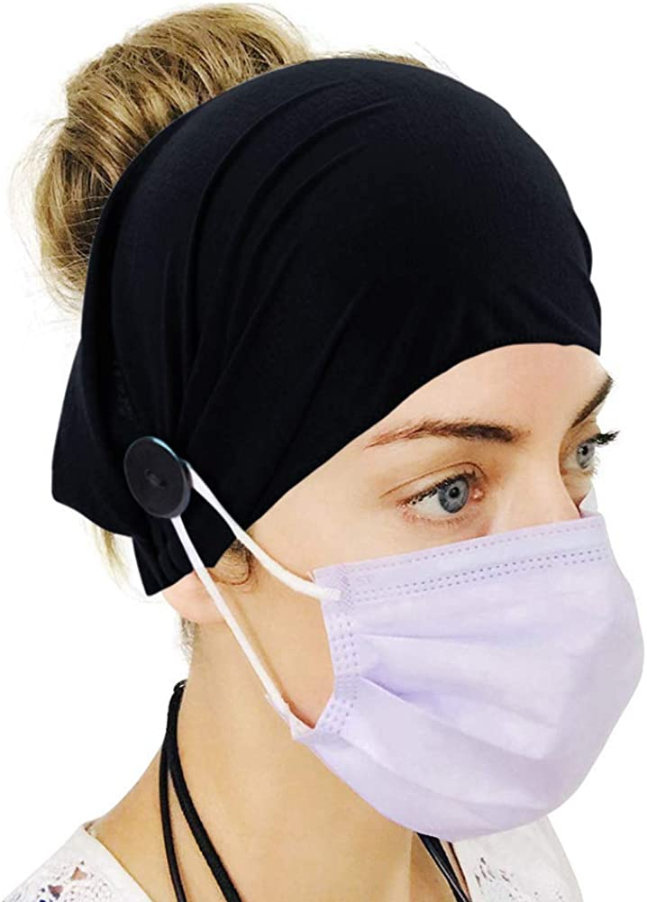 Protect Your Ears Adreamly Button Headband Ear Protection Holder for Everyone Wearing a Face Cover,Multifunctional Hair Band