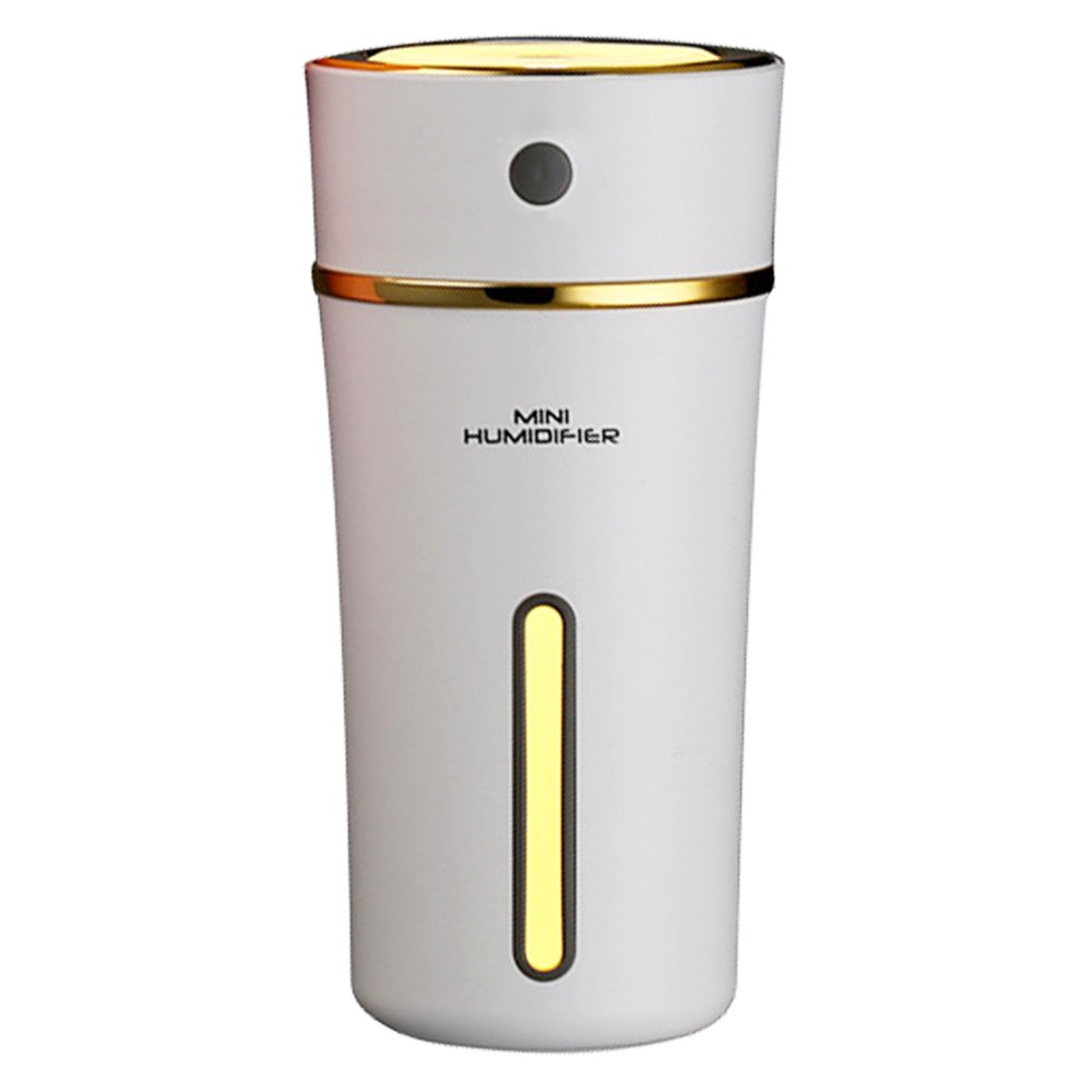 Areally Rechargeable 300ml USB Mini Humidifier with Battery, Cute Cup Style Cool Mist Ultrasonic Air Humidifier with Night Lights for Car, Home, Office, Baby, Living Room, Yoga