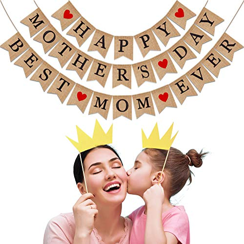 Boao Happy Mothers Day Burlap Banner Best Mom