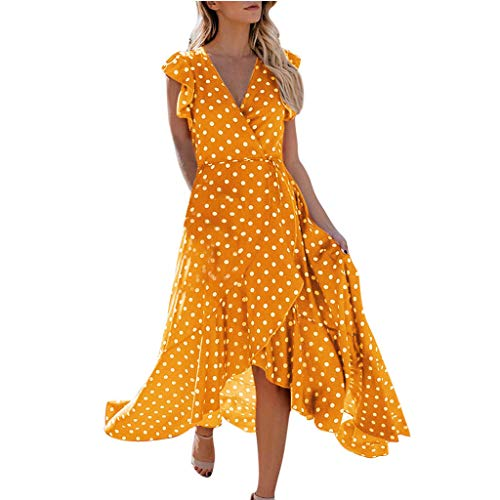 JustWin Women's Polka Dot V-Neck Irregular Lace Dress Fashion Womens Dot Boho Mini Dress Yellow