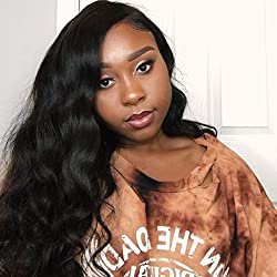 Eayon hair Body Wave Full Lace Wigs 130% Density Brazilian Virgin Remy Human Hair Wigs with Baby Hair 18 inch Natural Color
