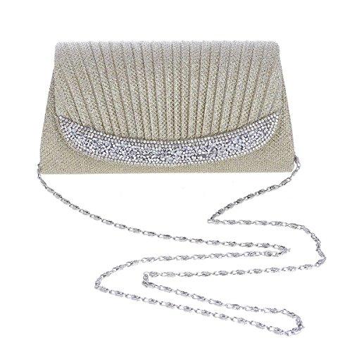 Pleats Damara Womens Evening Border Silver Rhinestone Dainty Flap Bag ragna