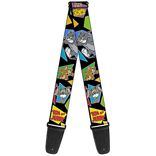 Buckle-Down Guitar Strap - TOM & JERRY Poses Black/Multi Color (vertical for SP/GS - from WTAJ004) - 2