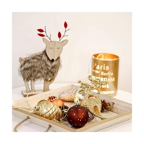 Valery Madelyn Palle di Natale 100 Pezzi di Palline di Natale, 3-5 cm di Rame del Bosco e Oro Infrangibile Ornamenti di Palla di Natale Decorazione per la Decorazione Dell'Albero di Natale 5 spesavip
