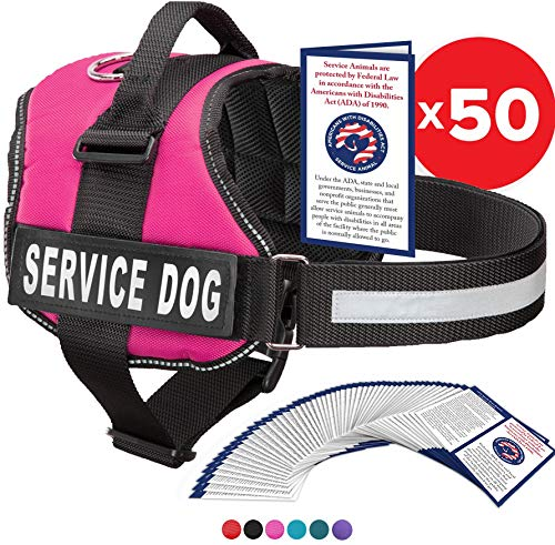 Service Dog Vest With Hook and Loop Straps and Handle - Harness is Available in 8 Sizes From XXXS to XXL - Service Dog Harness Features Reflective Patch and Comfortable Mesh Design (Pink, XXS)