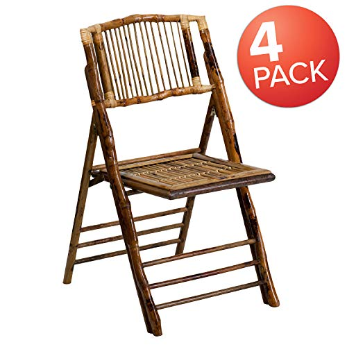Flash Furniture 4 Pk. American Champion Bamboo Folding - Folding Chairs Cane Back