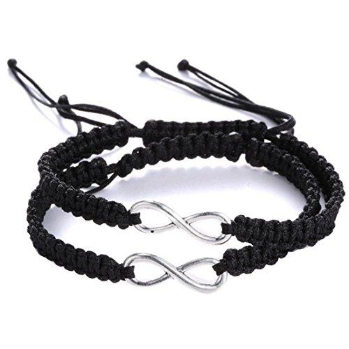 2 Pcs Infinity symbol bracelet Infinity bracelet Couples bracelets friendship bracelets braided bracelets Black