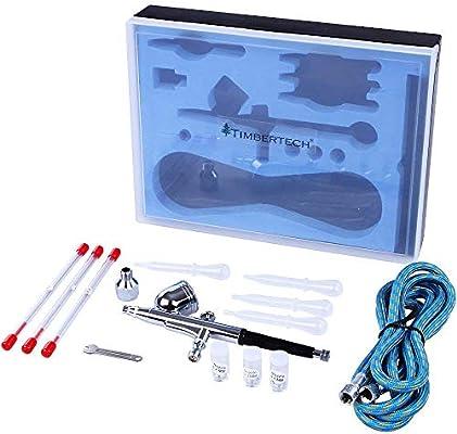 TIMBERTECH Set de 2 aer/ógrafos 2 Manguera y 2 Estuches 6 boquillas ABPST03 Incluye 6 Agujas 2 adaptadores