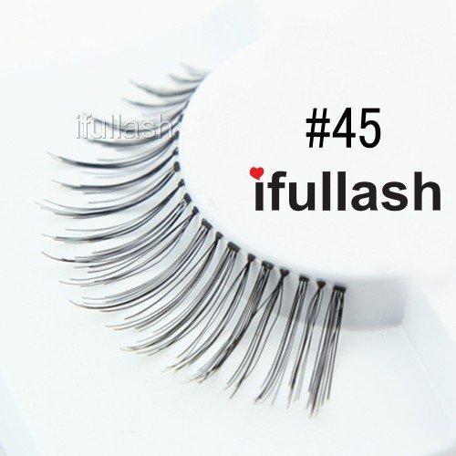 #45, 12 Pairs ifullash 100% Human Hair Eyelashes