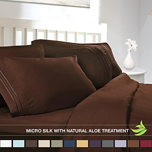 Luxury Bed Sheet Set - Soft MICRO SILK Sheets - Queen Size, Chocolate Brown - with Pure Natural ALOE VERA Skin Soothing Moisturizing Treatment - Healthy Calming Properties Will Make You Have A Relaxed and Refreshed Sleep - Highest Quality with Strong Stitching Will Make Your Sheet Set Last For Many Years - Get the Luxurious Look and Silky Feel No Other Sheet Set can Offer - Clara Clark (Silk Sheets Brown)