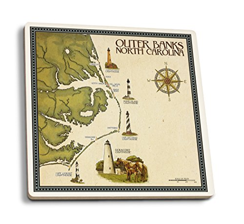 Lantern Press Outer Banks, North Carolina - Lighthouse and Town Map (Set of 4 Ceramic Coasters - Cork-Backed, Absorbent)
