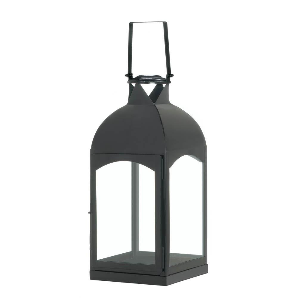 Christmas Candle Lantern, Large Domed Black Hanging Metal Rustic Candle Lantern (Sold by Case, Pack of 4)
