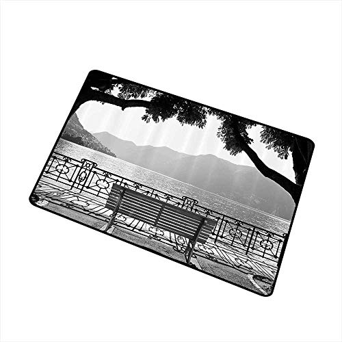 Axbkl Pet Door mat Grey Romantic Scenery with a Bench by The Lake Outdoors Trees Empty Park View Mountain Range W24 xL35 Machine wash/Non-Slip Grey