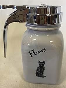 Smoked Granite Honey Dispenser - Mosser - Made in the USA (Smoked Granite Black Cat)