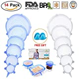 MARKKEER Silicone Stretch Lids (14 pack, includes XL SIZE & Silicone Mitts), Reusable, Durable and Expandable to Fit Various Sizes and Shapes of Containers. Superior for Keeping Food Fresh