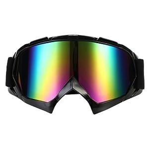 TKOOFN Lunettes Moto Motocross Masque Protection Lentilles Coloré Anti-vent Anti-poussière Noir