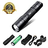 Chenglnn Ultra Bright LED Flashlight Torch Light, Bicycle Bike Light,Military Flashlight Waterproof IPX8(Black)