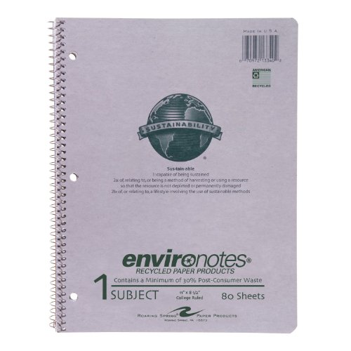 Roaring Spring Paper Products Recycled Paper Wirebound Notebook, One Subject, 11 x 8.5 Inches, 80 Sheets, College Ruled, Grey Covers (13340)